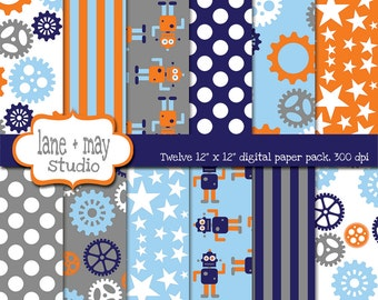 digital scrapbook papers - mr. robot and gears in orange, blue and gray - INSTANT DOWNLOAD