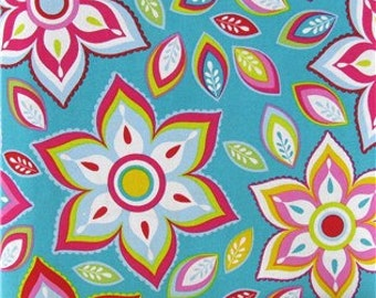 Cotton Fabric -  Turquoise Floral Cotton Fabric by the Yard - Quilt Fabric - Apparel Fabric - Home Decor Fabric - Fat Quarters