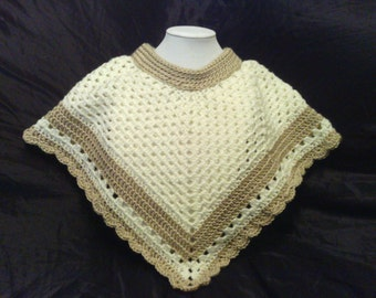 Child Cream and Tan Poncho with Scalloped Edging