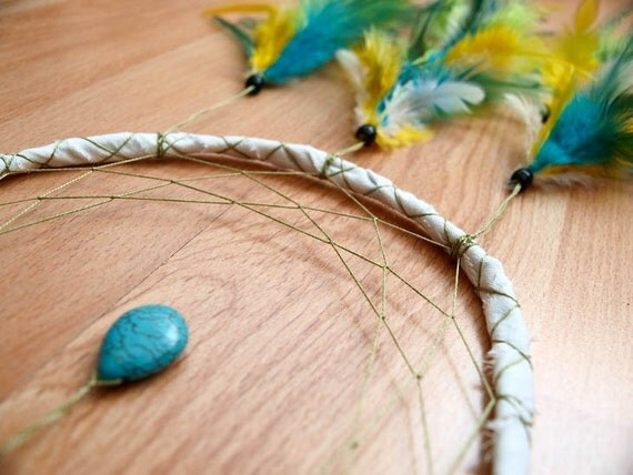 Dream Catcher - Turquoise Drop - With Turquoise Drop Gemstone and Green, Turquoise and Yellow Feathers - Home Decor, Mobile