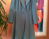 Vintage 1940s Seaglass Green Wool Princess Coat