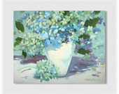 Abstracted  Blue Hydrangea canvas painting original artwork  16X20 Floral . Flowers .