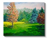 """STUDIO EVENT! Emerald green colorful Landscape Painting ORIGINAL Oil on Canvas 20""""X24""""  Impressionist Trees pine spruce"""