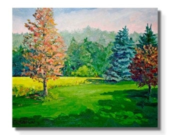 "STUDIO EVENT! Emerald green colorful Landscape Painting ORIGINAL Oil on Canvas 20""X24""  Impressionist Trees pine spruce"