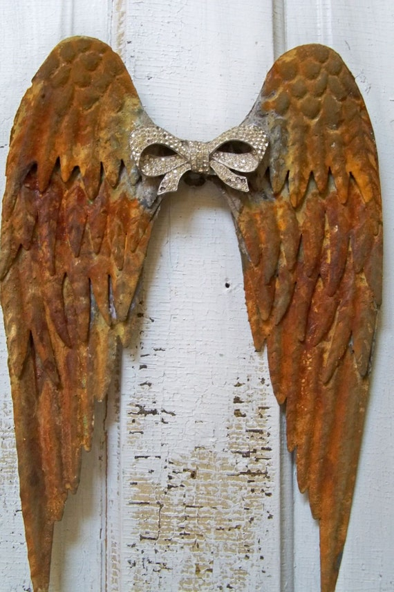 Rusted Metal Angel Wings Wall Sculpture With Rhinestone Bow