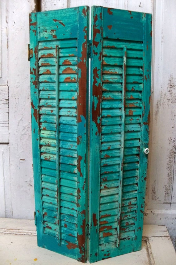 Wood Shutter Aqua Blue Weathered Distressed Recycled Piece