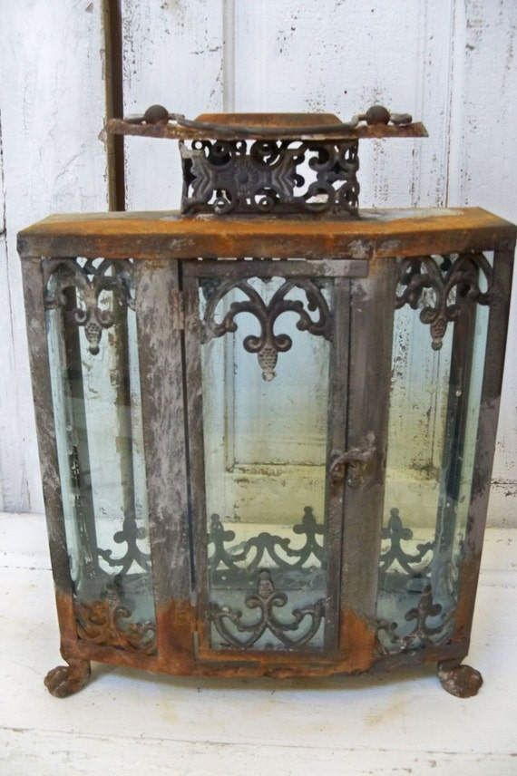 Ornate Display Case Glass Metal Rusted Observation Showcase
