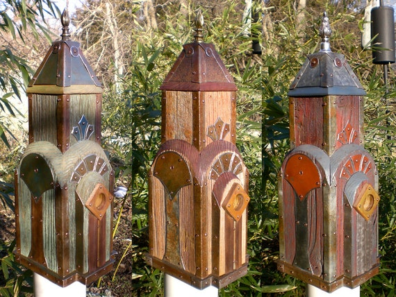 New York, New York: Art Deco Birdhouse Made of Reclaimed Barn Wood and Tin Roofing--MADE-TO-ORDER