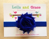 Royal Blue Shabby Chic Chiffon Headband- Baby Headband, Toddler Headband, Newborn Headband