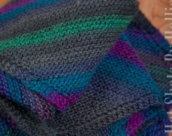 Knit baby blanket - Fall colors diagonal stripes baby blanket - Gray, Fuchsia, Green, Turquoise (BL2)