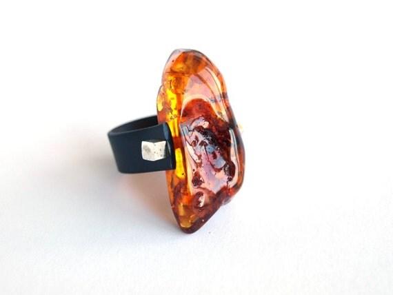 Unique Baltic Amber Ring