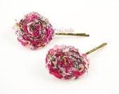 2 Flower Hair accessories Pin Boho Pink wedding elegant hairpins barrette