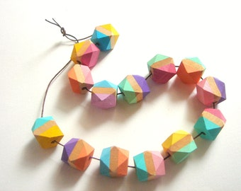 Rainbow Geometric  Wood Beads,Hand Painted Faceted Wood Beads,Do it Yourself Geometric necklace