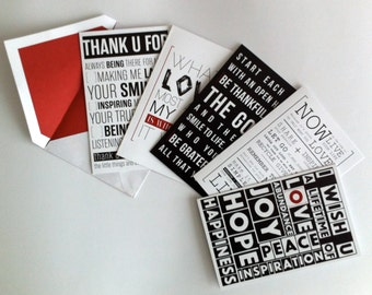 10 Pack Inspirational Greeting Cards by [LOVE TO BE] - Positive messages and quotes for all occasions - Thank you, Love and Best wishes
