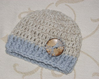 Baby Boy Beige and Blue Crochet Hat Photography Prop