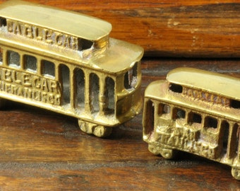 Two Solid Brass Miniature Trolly Cars Street Cable Cars San Francisco
