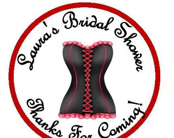 Personalized Lingerie Bridal Shower, Wedding, Special Occasion Sticker Favors - choice of size