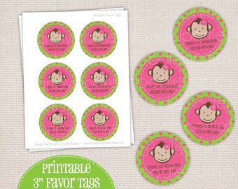 Girl's Mod Monkey Birthday Party Printable (DIY) Favor Tags