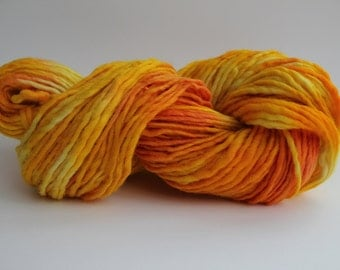 Orange/ Yellow Multi  Color Medium Weight  Hand  Spun  Wool Hand Knitting Yarn