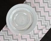 Pink & Gray Chevron Table Runner