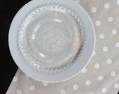 Polka Dot Table Runner in White on Taupe