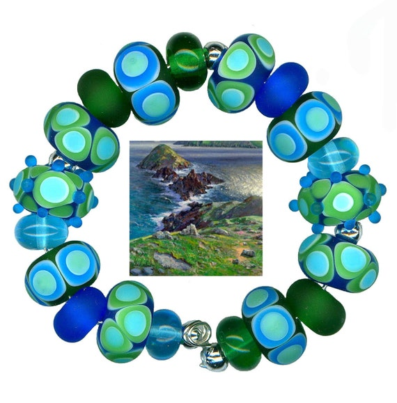 Lampwork Glass Beads Blue Green Sea Glass Etched Bead Set