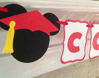 Congratulations Disney Graduate Mickey Graduation CUSTOM Banner - U Choose Your Colors