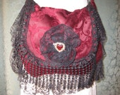 reserved Gypsy Red Velvet  Bag Purse, Romantic Black Lace Bohemian Hippie Purse