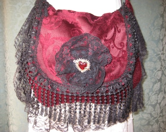 Gypsy Red Velvet  Bag Purse, Romantic Black Lace Bohemian Hippie Purse