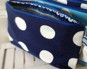 Navy Spot Wash bag