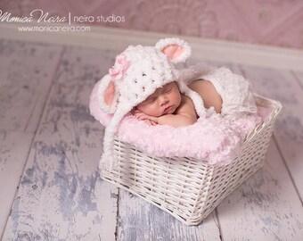 Baby Girl Hat, Newborn Photo Prop, Little Lamb Hat, Crochet Hat, Newborn Photography, Baby Giftt, Hats for Babies