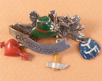 Vintage  Cochem / Mosel Brooch Souvenir From Germany Charm Old Pendant Jewelry