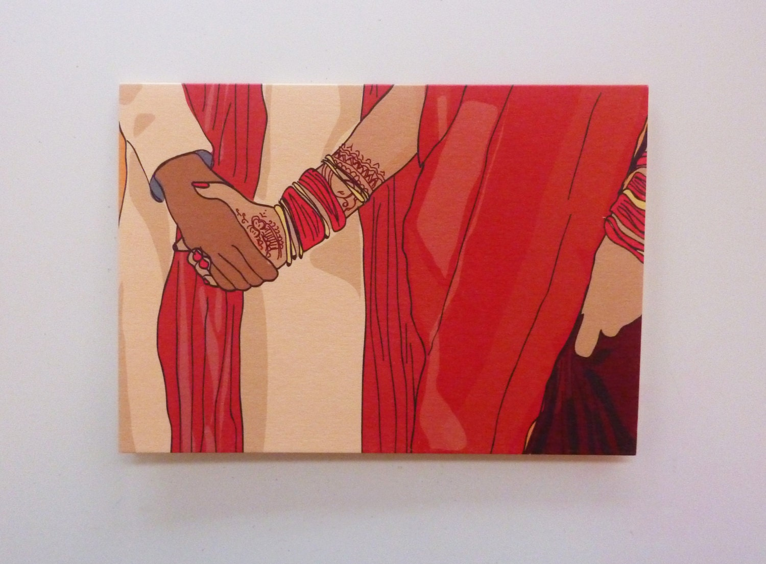 Indian Wedding Greetings Card Traditional Ceremony Couple