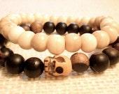 Men's yoga bracelet stack - ebony tiger wood and antiqued bone