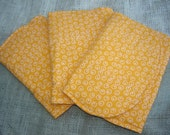 Three (3) Flannel Burp Cloths - Orange With White Circles and Dots - Quilted and Contoured - Gender Neutral Baby Shower Gift