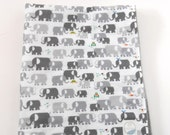 Minky Baby Blanket Quilt Cloud 9 Happy Drawing Elephants Organic Cotton Top--Made to Order