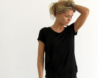 Black Blouse, open back top, black day shirt, loose shirt, Short Sleeve Shirt, summer top, yoga top, scoop neck top, sport minimal shirt