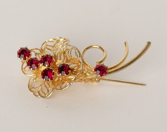 Vintage Gold Tone Brooch with Red Rhinestones