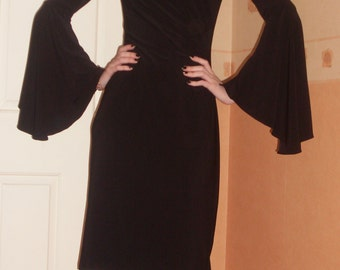 Black Flared Sleeve Evening Dress