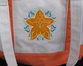 "Embroidered/Applique ""Starfish""  Canvas Beach Tote Bag"