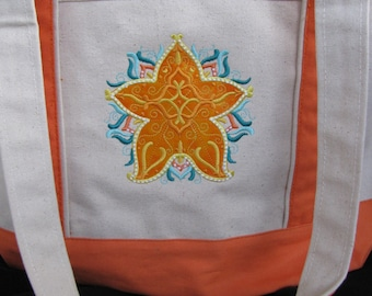 "Embroidered/Applique ""Starfish""  Canvas Beach Tote Bag"
