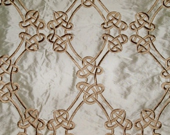 SILK LOOM Inc. CEREMONY Embroidered Silk Fabric 10 Yards Gold Cream