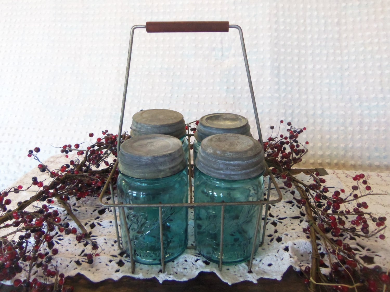 vintage wire milk bottle carrier with 4 aqua by. Black Bedroom Furniture Sets. Home Design Ideas