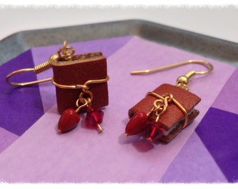 Mini Book Earring July Birthstone Ruby Color Swarovski Crystal with Gold Toned Surgical Steel Earwires - GE37