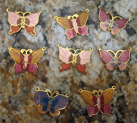 Last Chance 8 Assorted Vintage Enamel Butterfly Charms