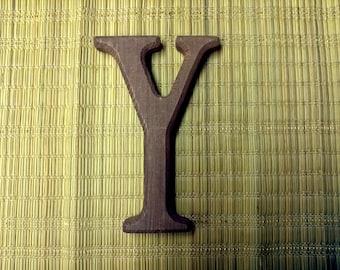 Vintage Redwood Letter Y