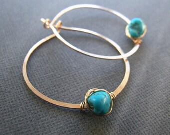 "Turquoise earrings - genuine turquoise hoop earrings gold silver 3/4"" - 1"" 18mm 24mm Nevada Blue December birthstone Gift"