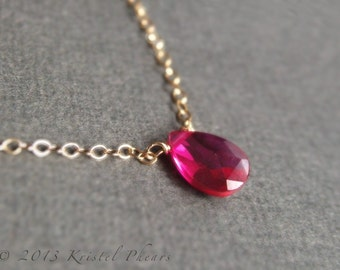 Ruby Necklace - July birthstone, petite lab created gemstone solitaire choker in sterling or gold-filled, minimal layering jewelry Gift