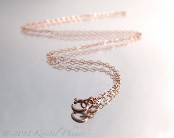 """Dainty 14k Rose Gold-Filled chain - sparkly flat oval link 16"""" 18"""" 20"""" 24"""""""
