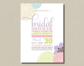 Printable Bridal Shower Invitation - Pretty Pastel modern flower design (BR05)